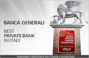 Banca Generali premiata come �Best Private Bank in Italy� dal Gruppo Financial Times